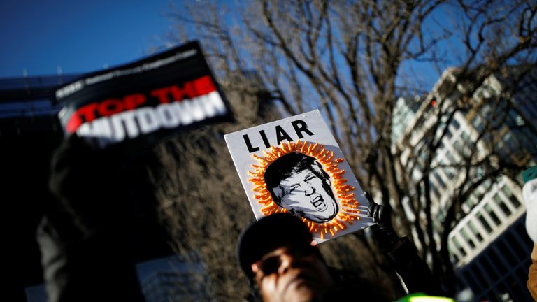 "Demonstrators carry signs during a ""Rally to End the Shutdown"" in Washington, U.S., January 10, 2019. REUTERS/Carlos Barria"