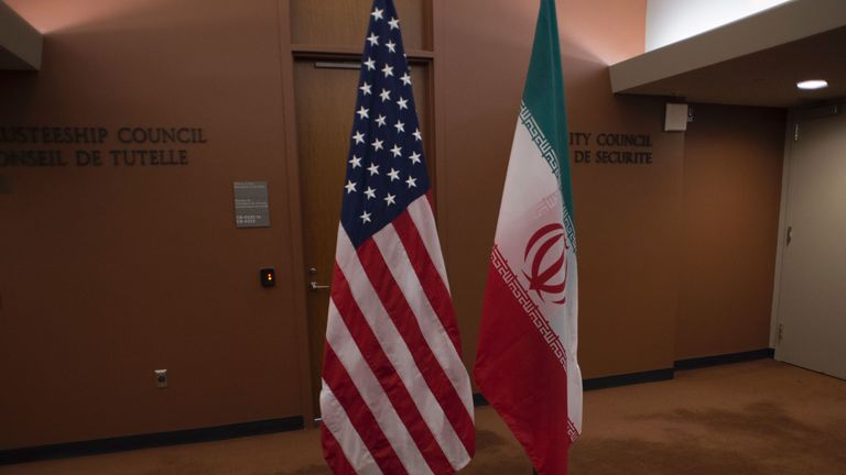 The US (L) and Iranian flags await the arrival of US Secretary of State John Kerry and Iran's Foreign Minister Mohammad Javad Zarif before the leaders meeting April 19, 2016 at the United Nations in New York. / AFP / DON EMMERT (Photo credit should read DON EMMERT/AFP/Getty Images)