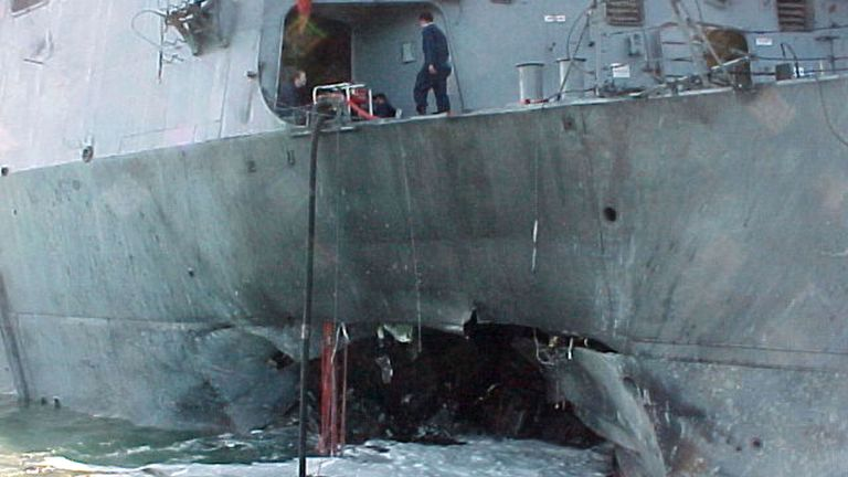 The damage to the USS Cole, which was attacked on October 12, 2000