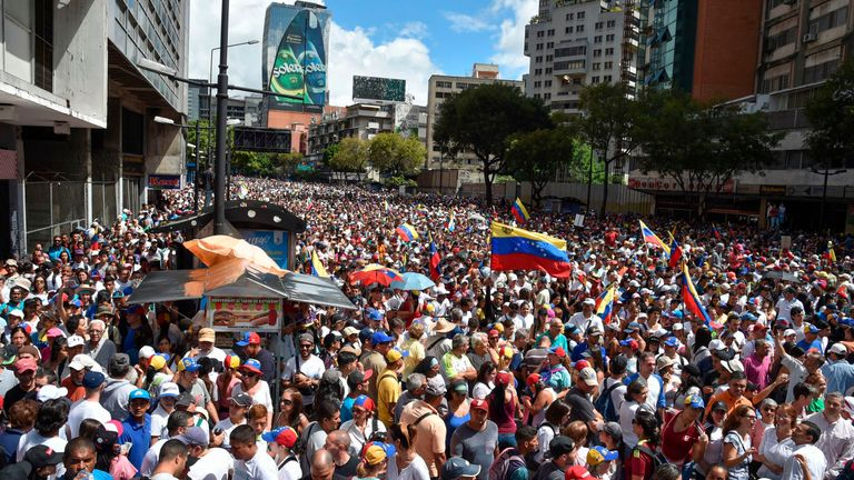 Venezuelan opposition supporters take to the streets to protest against the government of President Nicolas Maduro