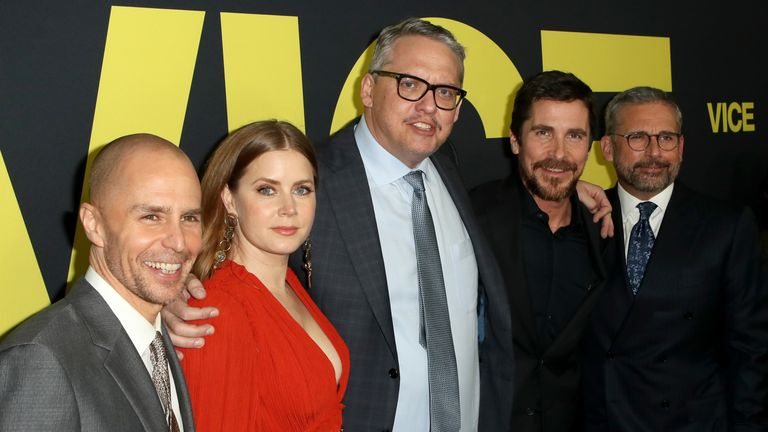 Sam Rockwell, Amy Adams, Adam McKay, Christian Bale and Steve Carell attend Annapurna Pictures, Gary Sanchez Productions and Plan B Entertainment's World Premiere of Vice at AMPAS Samuel Goldwyn Theater on December 11, 2018 in Beverly Hills, California