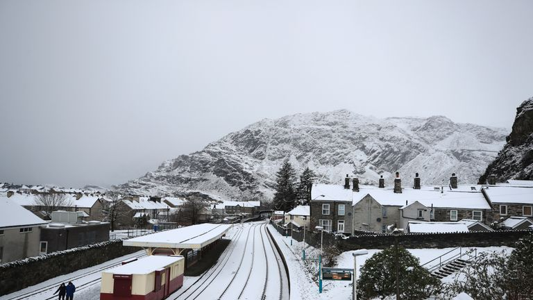 Blaenau Ffestiniog in North Wales was covered in snow as a cold blast hit the UK
