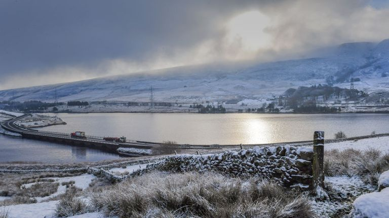 Snow covered the hills in the Longdendale Valley in Derbyshire