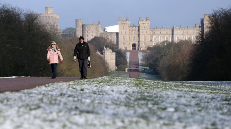 Walkers in Windsor enjoyed the wintry conditions on the Long Walk from the castle