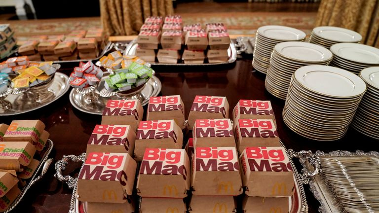 Fast food hamburgers from the chain McDonald's are provided due to the partial government shutdown as the 2018 College Football Playoff National Champion Clemson Tigers are welcomed in the State Dining Room of the White House in Washington, U.S., January 14, 2019
