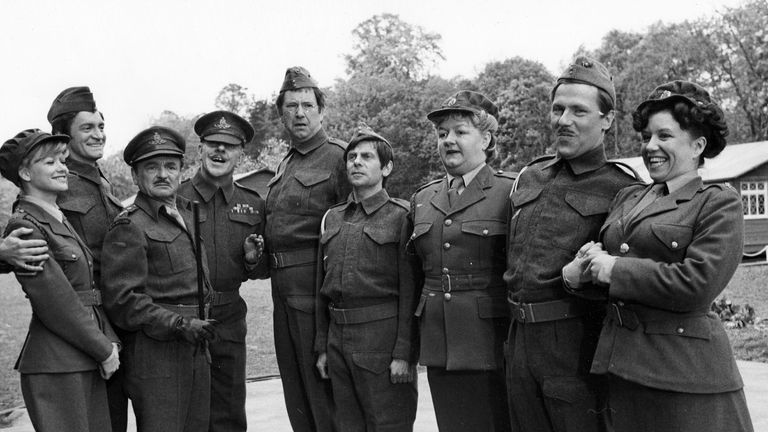 Davies (fourth on the left) starred in two Carry On films