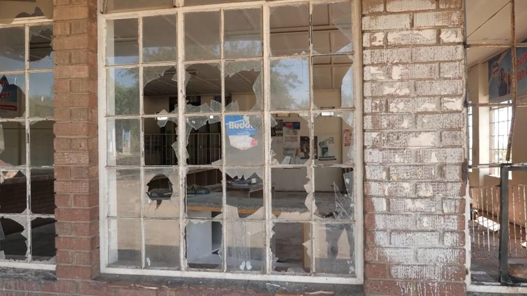 Demonstrators destroyed shops in Bulawayo when the president increased fuel prices by 150%