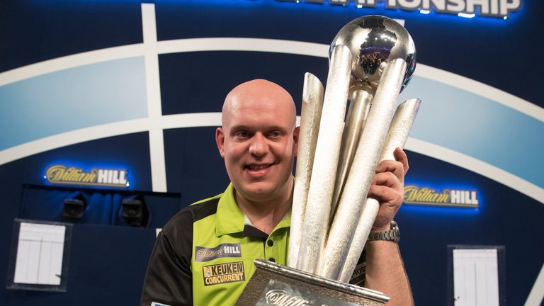 The moment Michael van Gerwen lifted the Sid Waddell Trophy