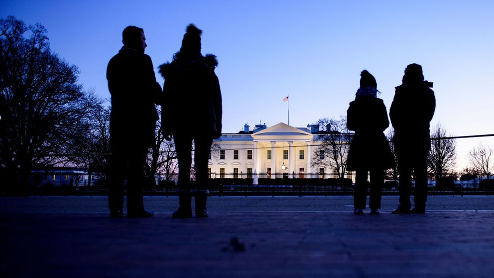 People look across Pennsylvania Avenue towards the White House January 11, 2019 in Washington, DC