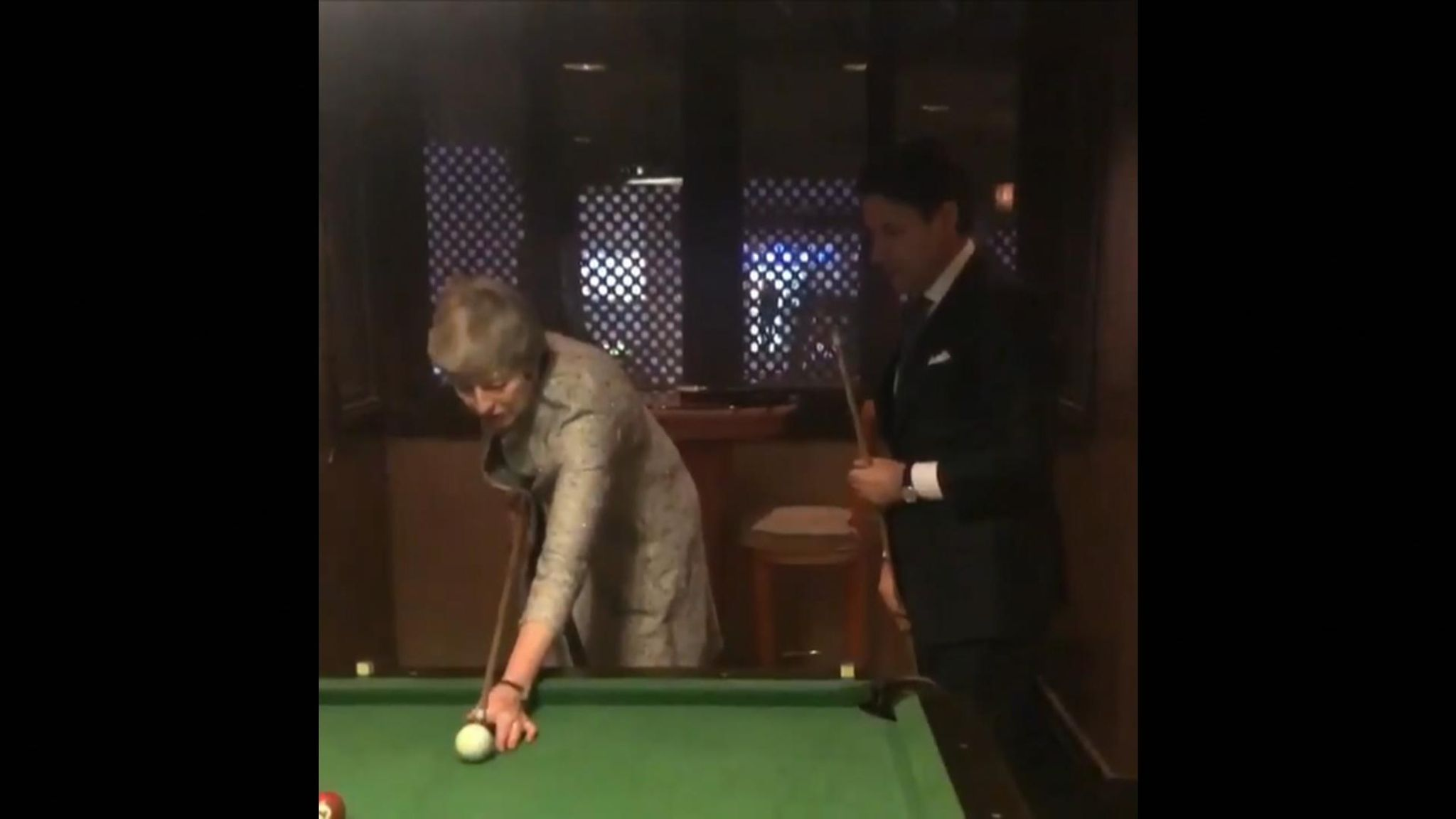 Italian Prime Minister Giuseppe Conte played pool with Theresa May while  they were attending an EU-Arab League summit in Egypt
