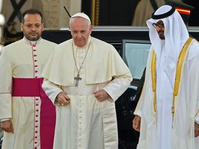 Pope Francis was welcomed by Abu Dhabi's Crown Prince Sheikh Mohammed bin Zayed Al Nahyan
