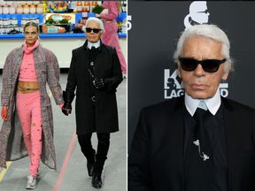 Karl Lagerfeld with Cara Delevigne on his supermarket-themed runway in Paris in 2014