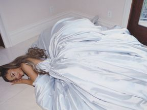All dressed up and no where to go: Ariana Grande poses at home. Pic: Ariana Grande