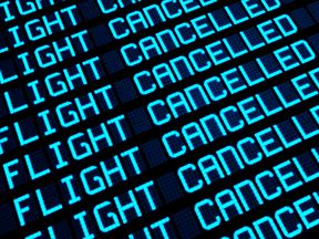 Departures board at airport terminal showing cancelled flights because of strike. Travel unforeseen concept, 3d rendering. (Departures board at airport terminal showing cancelled flights because of strike. Travel unforeseen concept, 3d rendering., ASC