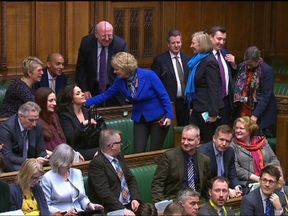 Anna Soubry, Heidi Allen and Sarah Wollaston take their seats on the opposition benches - with other Independent Group MPs.