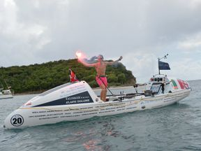 Lukas arriving in English Harbour, Antigua, becoming the youngest ever person to row across an ocean solo. Pic: Atlantic Campaigns