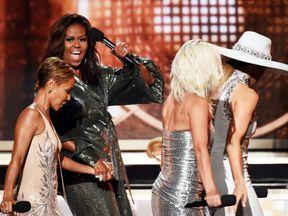 Jada Pinkett Smith, Michelle Obama, Lady Gaga, and Jennifer Lopez at the Grammys