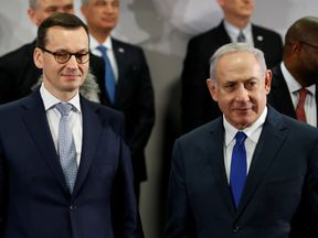 Mateusz Morawiecki and Israel's Prime Minister Benjamin Netanyahu during the Middle East Summit on 14 February