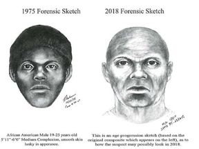 Police have released sketches of the suspect's appearance in 1975 and 2018