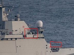 The Spanish navy vessel's guns were manned