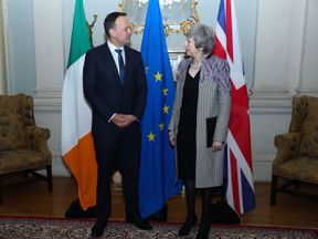 Prime Minister Theresa May and Taoiseach Leo Varadkar during a meeting at official state guesthouse Farmleigh House in Dublin