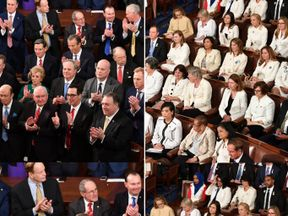 The congressional chamber was split between dark suits and white