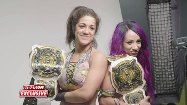 Banks & Bayley pose with Tag Team titles