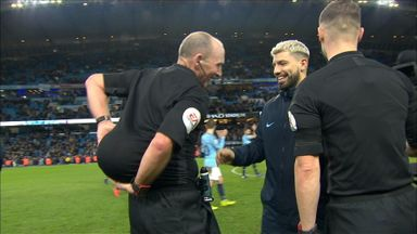 Dean hides ball from hat-trick hero Aguero!