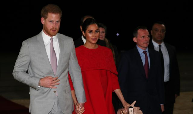 Harry and Meghan given guard of honour as they arrive in Morocco