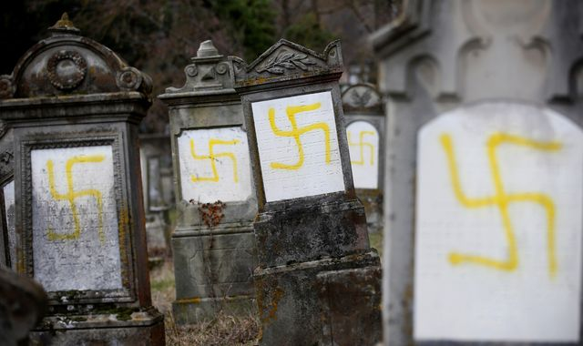 Swastikas painted on Jewish graves in French cemetery