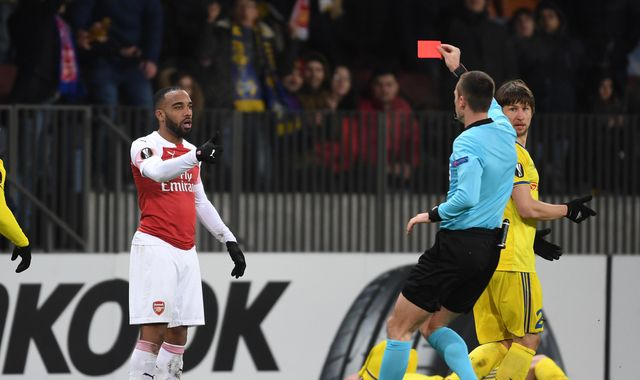 Arsenal's Alexandre Lacazette suspended for both Europa League games against Rennes