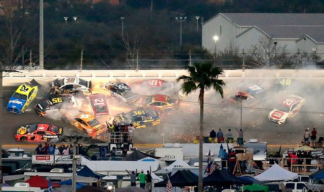 Daytona 500 halted by series of late crashes