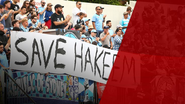 Sydney FC fans display a sign in support for Hakeem al Araibi