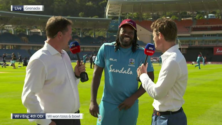 Chris Gayle interrupts Nick Knight and Rob Key's pre-match discussion ahead of the fourth ODI between Windies and England.