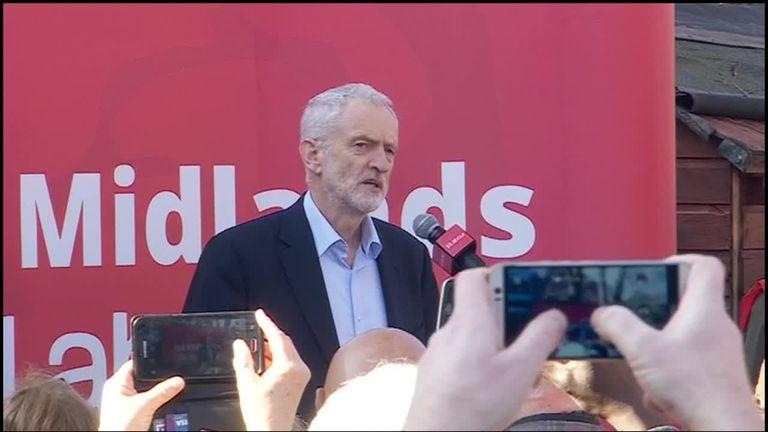Labour leader Jeremy Corbyn speaking in Broxtowe.