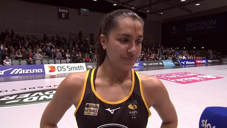 Wasps Netball's player of the match Sophia Candappa reacts to the win