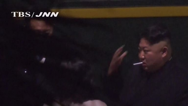 Kim Jong-un filmed smoking