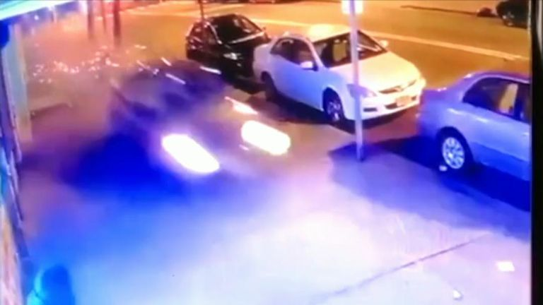 Shocking CCTV of car speeding over pavement