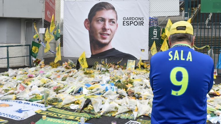 Tributes to Sala outside La Beaujoire stadium in Nantes