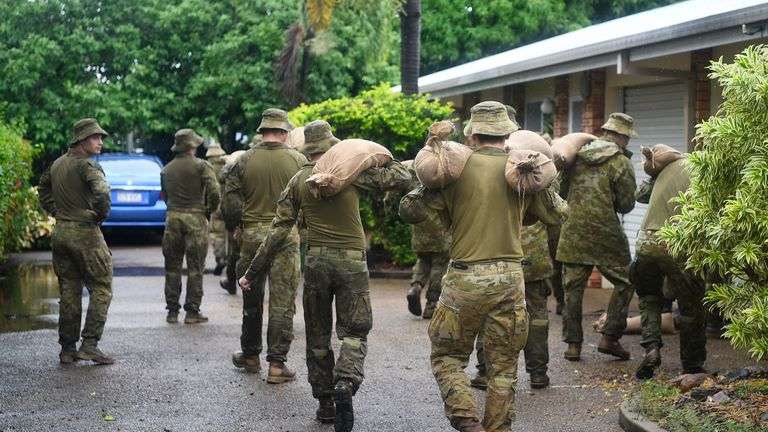 Soldiers have been deployed to deliver sandbags to properties