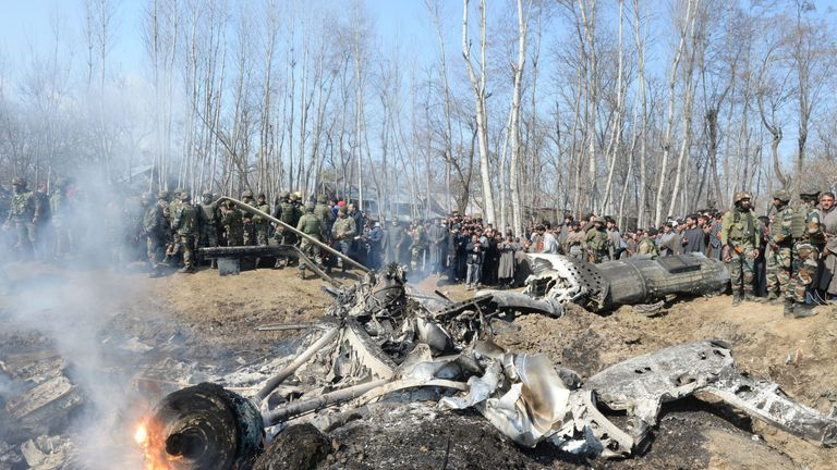 The remains of an Indian Air Force aircraft after it crashed in Budgam district in the state of Jammu and Kashmir in India