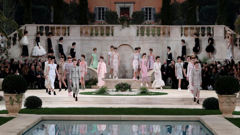 Models showcasing Lagerfeld's Haute Couture spring-summer 2019 collection at Paris fashion week last month