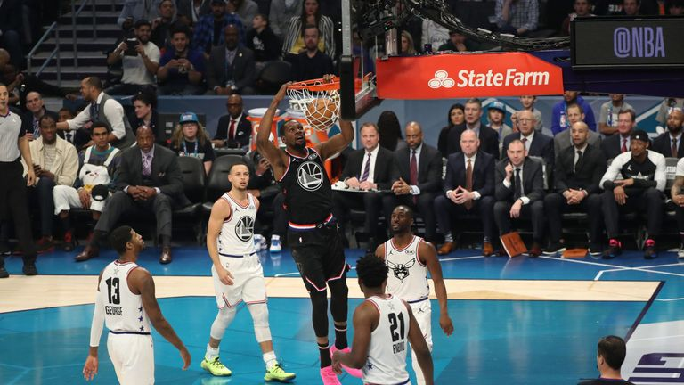 404f448ef3a0 Team LeBron  39 s Kevin Durant hammers home a dunk en route to a