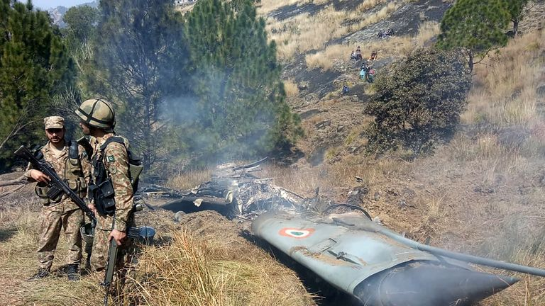 Wreckage of an Indian fighter jet Pakistan says it shot down on its side of Kashmir