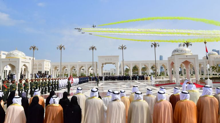 Aircrafts fly over the presidential palace in Abu Dhabi during a reception for Pope Francis