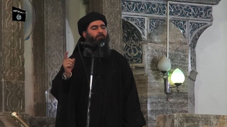 The leader of Islamic State (IS), Abu Bakr al-Baghdadi, said to be speaking to followers at a mosque in Mosul