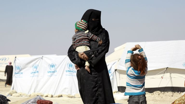 A woman at the al-Hawl refugee camp in northern Syria. File pic