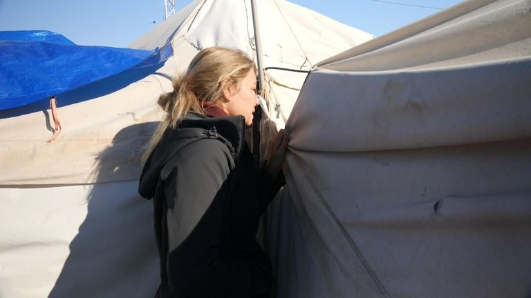 Alex Crawford spoke to the British women in their tents - they did not want to be shown