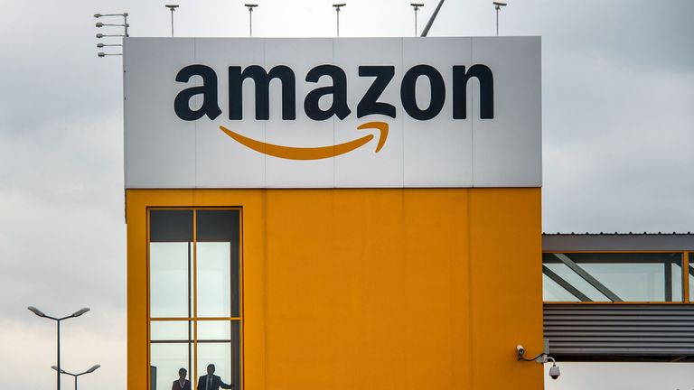A photo taken on April 11, 2015 in Lauwin-Planque, northern France, shows a site of the Amazon electronic commerce company. AFP PHOTO PHILIPPE HUGUEN / AFP PHOTO / Philippe HUGUEN (Photo credit should read PHILIPPE HUGUEN/AFP/Getty Images)