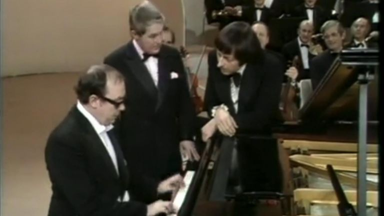 In 1971 André Previn was invited to conduct Grieg's Piano Concerto... featuring Morecambe and Wise.